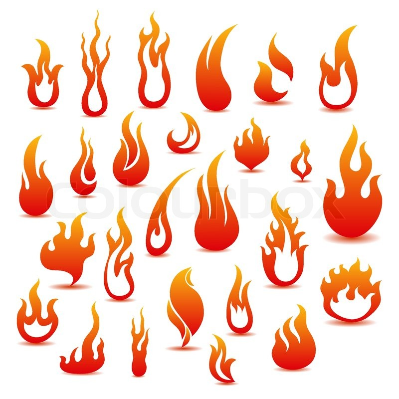 800x800 Collection Of Fire Icons Stock Vector Colourbox