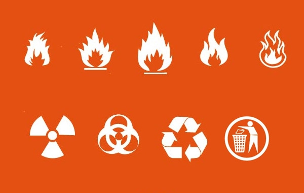 600x380 Fire Nuclear Recycle Signs Vector Hd Icon