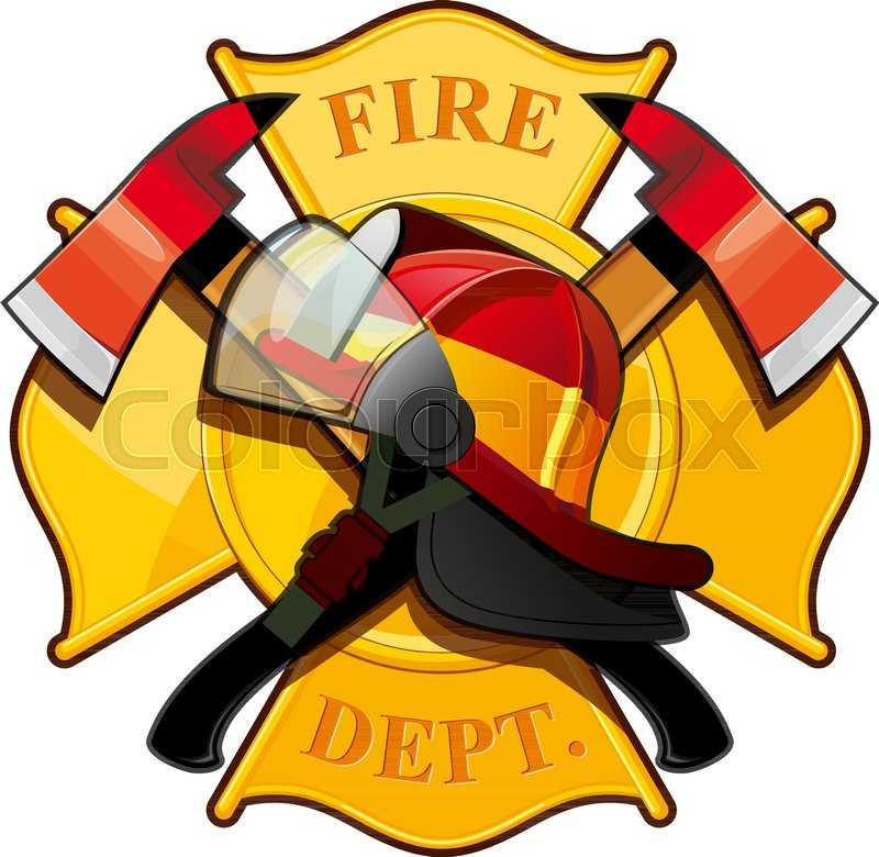 800x780 Fire Department Badge With Crossed Axes, Fire Helmet Against The