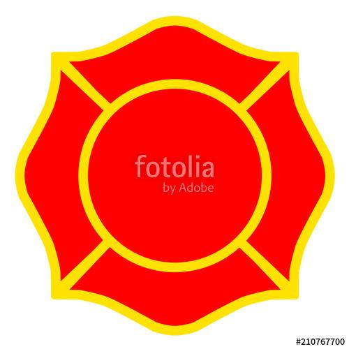 500x500 Firefighter Emblem St Florian Maltese Cross Yellow Outline Stock