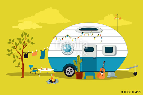 500x334 Cartoon Travelling Scene With A Vintage Camper, A Fire Pit
