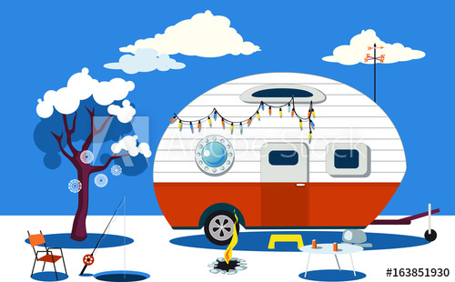 500x310 Winter Travelling Scene With A Vintage Camper, A Fire Pit, Fishing
