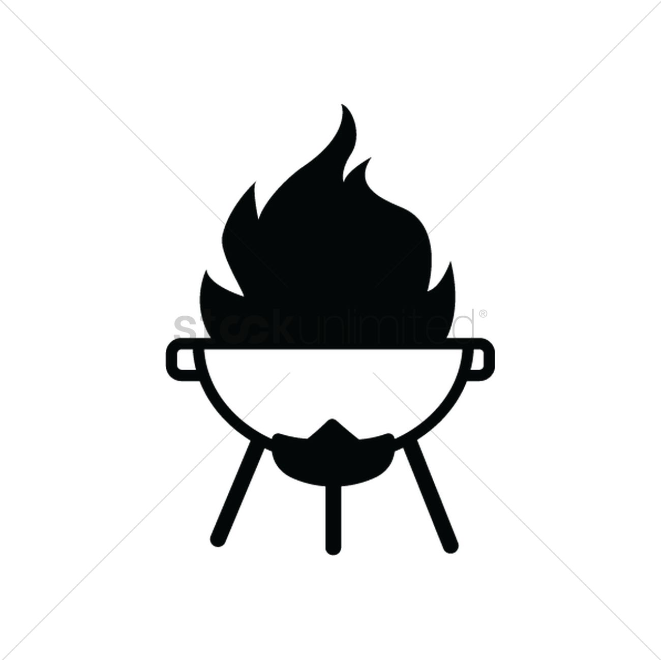 1300x1298 Barbeque Pit On Fire Silhouette Vector Image