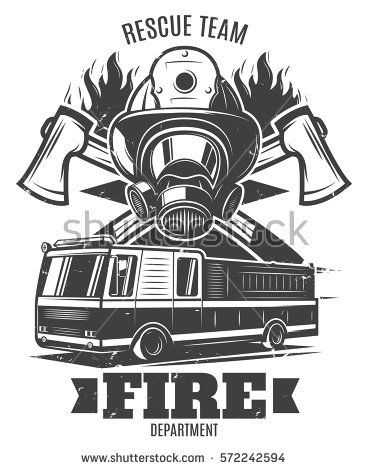 368x470 Monochrome Firefighting Template With Rescue Mask Fire Truck Axes