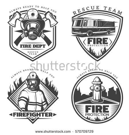 450x470 Vintage Firefighting Emblems Set With Fireman Fire Engine Hydrant