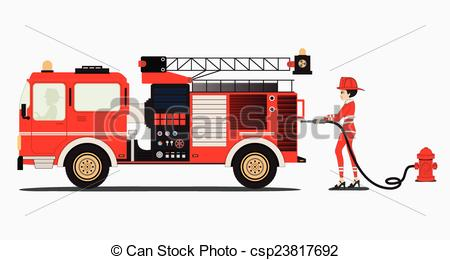 450x260 Fire Truck. A Woman Firefighter With A Fire Truck With A White
