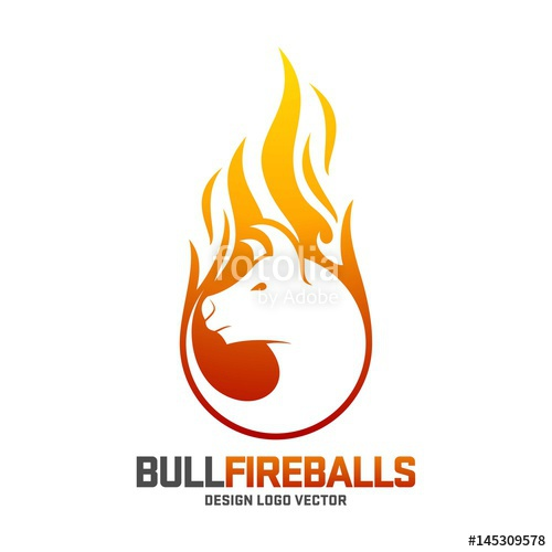 500x500 Bull Logo, Fireball Angry Bull Design Logo Template Stock Image