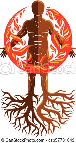 251x470 Vector Illustration Of Athletic Man Composed With Tree Roots, Fire
