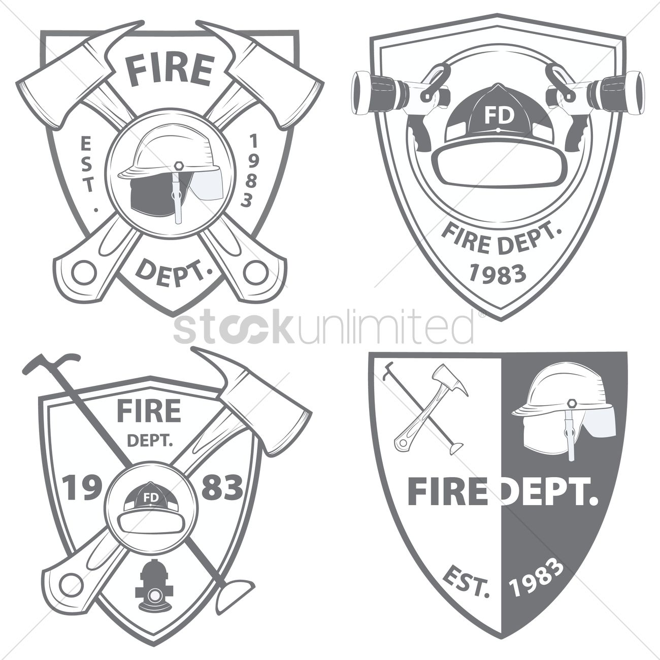 1300x1300 Fire Department Emblems And Badges Vector Image