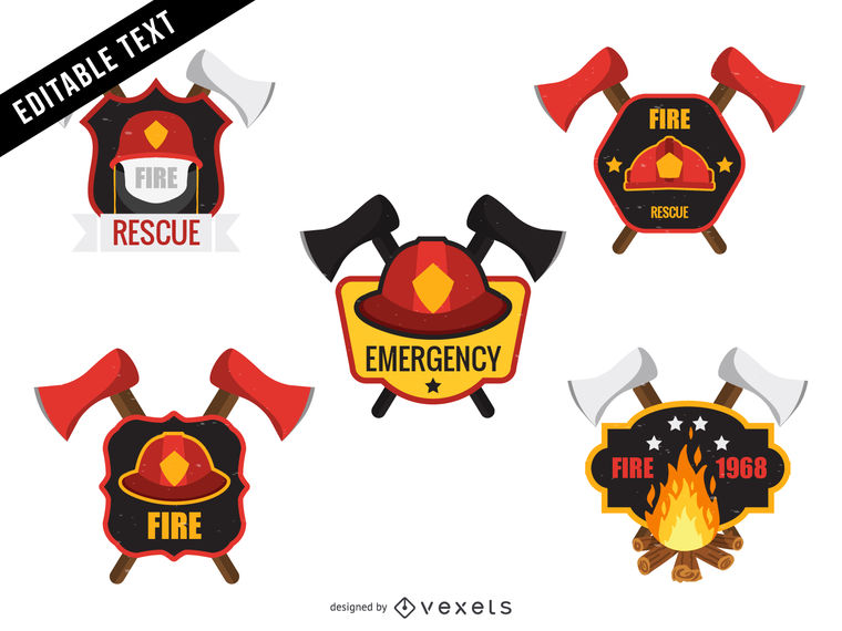 760x570 Firefighter Logo Badge Template Set