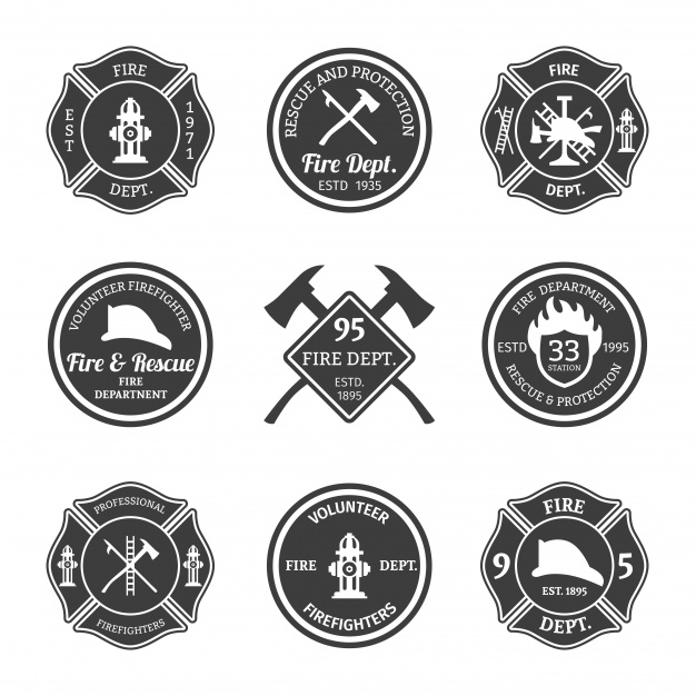 626x626 Pack Of Firefighter Badges Vector Free Download
