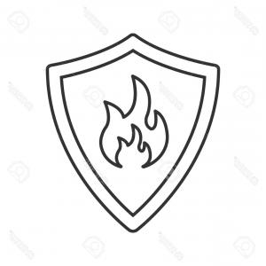 300x300 Photostock Vector Firefighters Badge Linear Icon Thin Line
