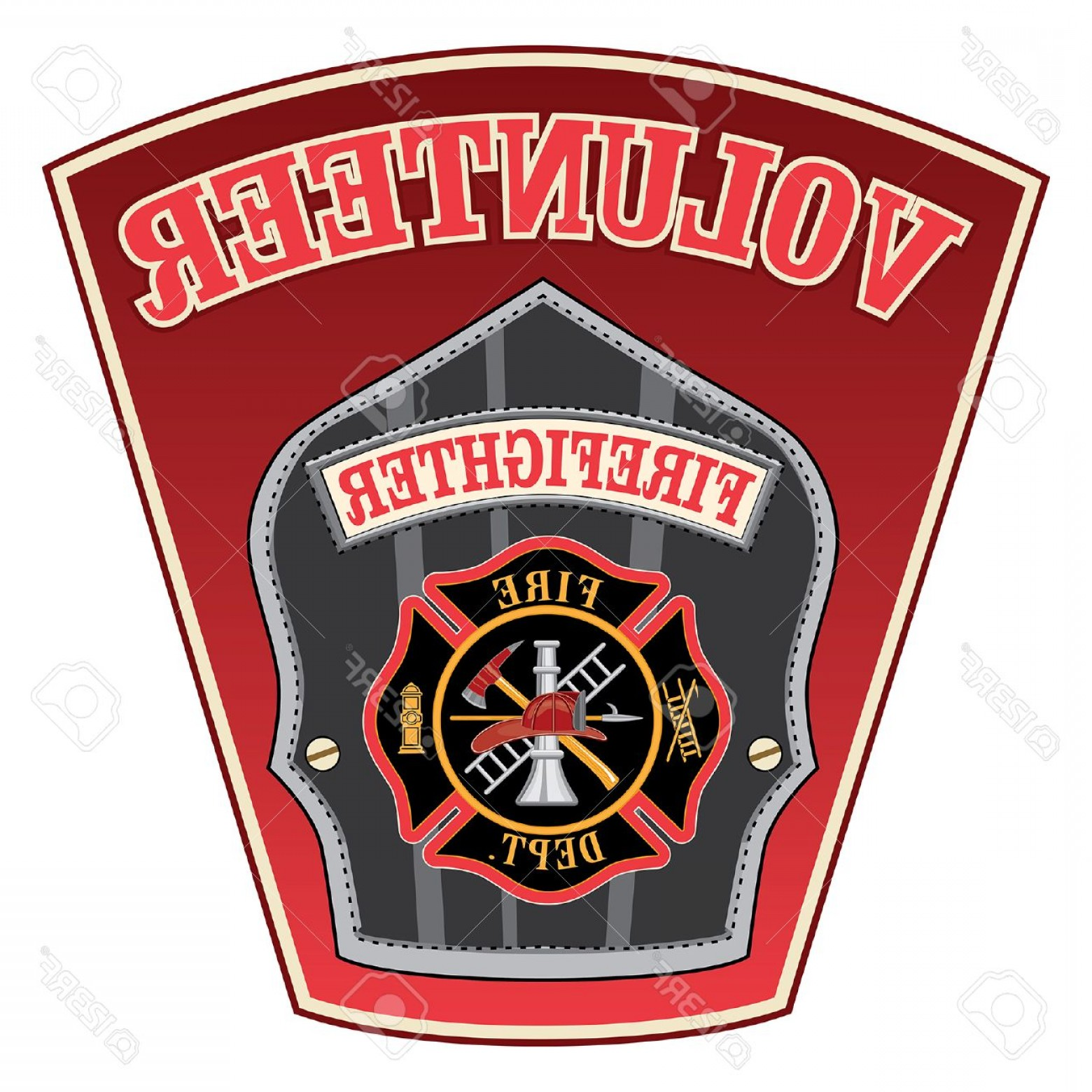 1560x1560 Photostock Vector Volunteer Firefighter Shield Is An Illustration