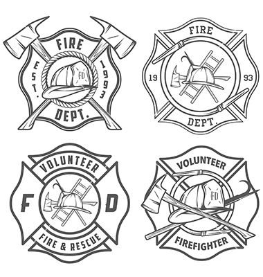380x400 Set Of Fire Department Emblems And Badges Vector Red Hot