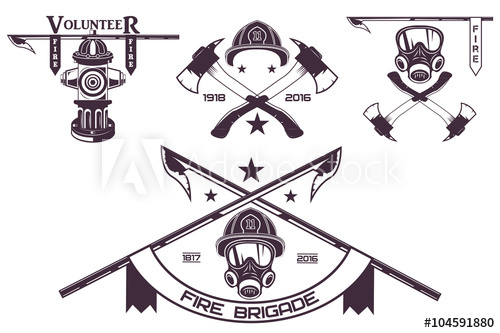500x333 Set Of Firefighter Emblems, Labels, Badges And Logos On Light
