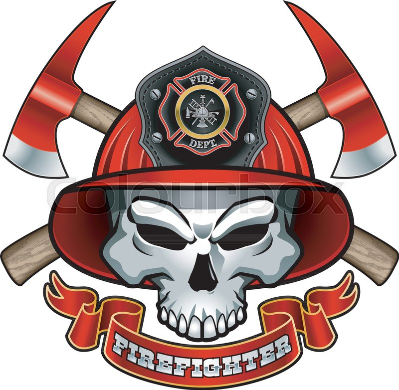 800x782 Skull Wearing Fireman Helmet, Crossed Axes And Text Firefighter