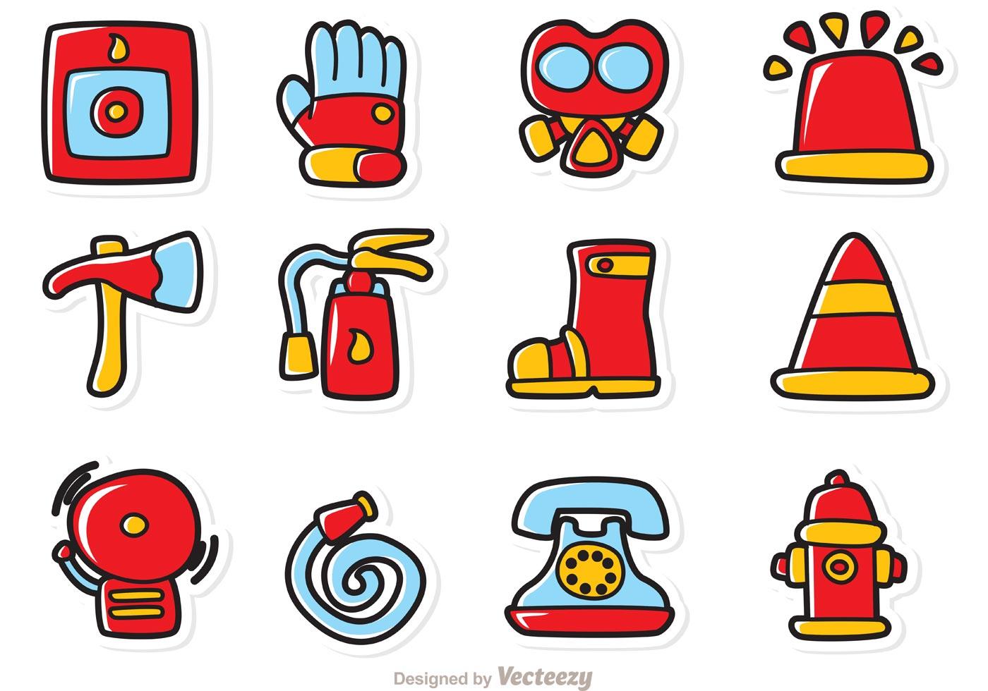 1400x980 Cartoon Fireman Icons Vector Pack