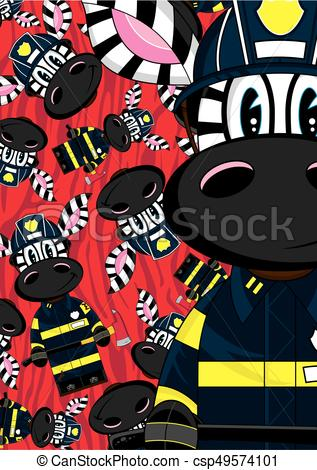 317x470 Cute Zebra Fireman. Cute Cartoon Zebra Fireman