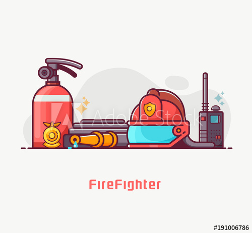 500x462 Fire Fighter Lifestyle Concept Illustration With Firefighting