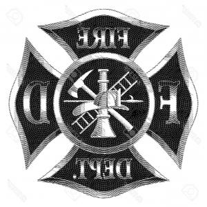 300x300 Photostock Vector Fire Department Cross Silver Engraving Is An