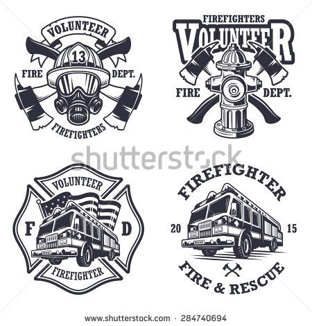 450x470 Set Of Firefighter Emblems, Labels, Badges And Logos On Light