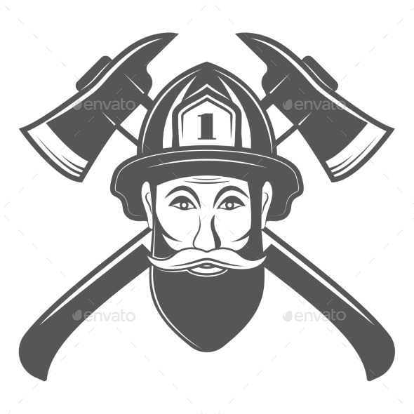 590x590 Hipster Man In Fireman Hat With Two Axe Vector By Skarinka