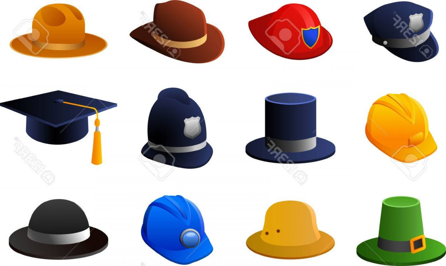 1560x931 Photostock Vector Hats And Helmets Collection With Policeman Hat