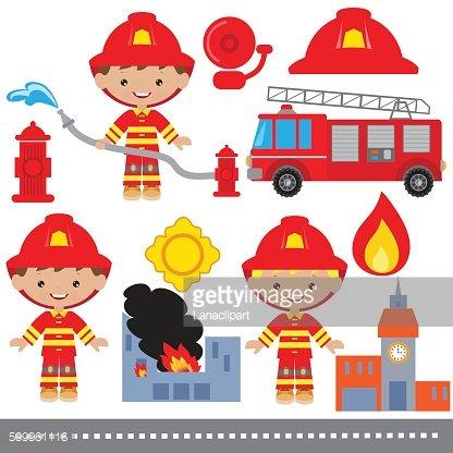 416x416 Fireman Vector Illustration Premium Clipart