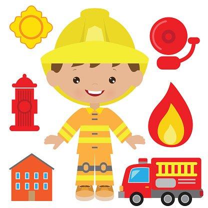 416x416 Fireman Vector Illustration Stock Vectors