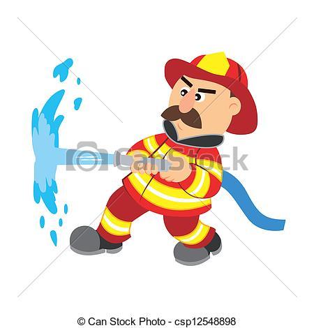 450x470 An Illustration Of Cartoon Fireman ,vector.
