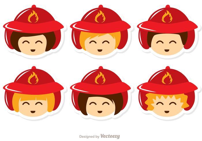 700x490 Kids Face Fireman Vector Pack