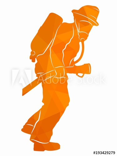 375x500 Silhouette Of A Fireman, Vector Draw