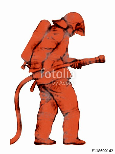 375x500 Silhouette Of A Fireman, Vector Draw Stock Image And Royalty Free