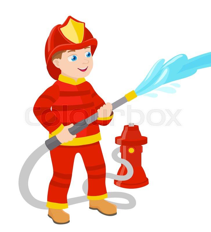 727x800 Cartoon Young Fireman Vector Illustration Stock Vector Colourbox