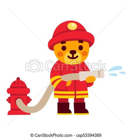 450x470 Cute Cartoon Firefighter Character. Teddy Bear In Fireman Uniform