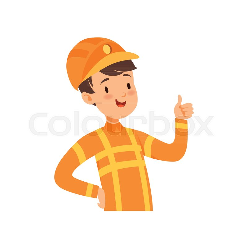 800x800 Cute Firefighter Character, Boy In The Costume Of Fireman Vector