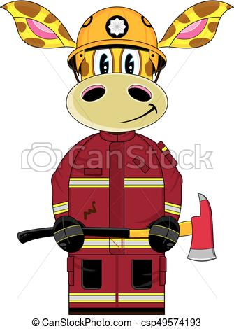 335x470 Cute Giraffe Fireman. Cute Cartoon Giraffe Fireman
