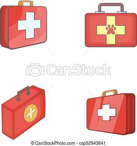 443x470 First Aid Kit Icon Set, Cartoon Style. First Aid Kit Icon Set