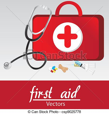 450x470 First Aid Kit Over Withe Bakcground, Vector Illustration.