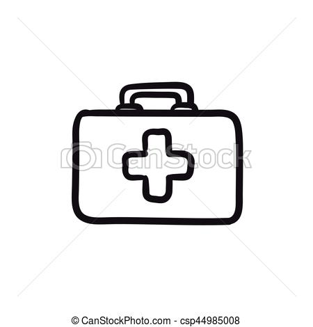 450x470 First Aid Kit Sketch Icon. First Aid Kit Vector Sketch Icon