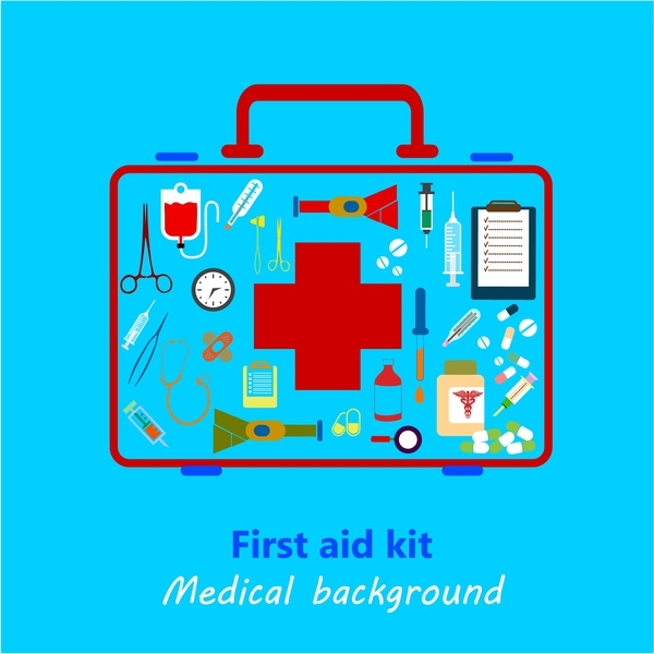 600x600 Medical Background Design With Colored First Aid Kit Free Vector