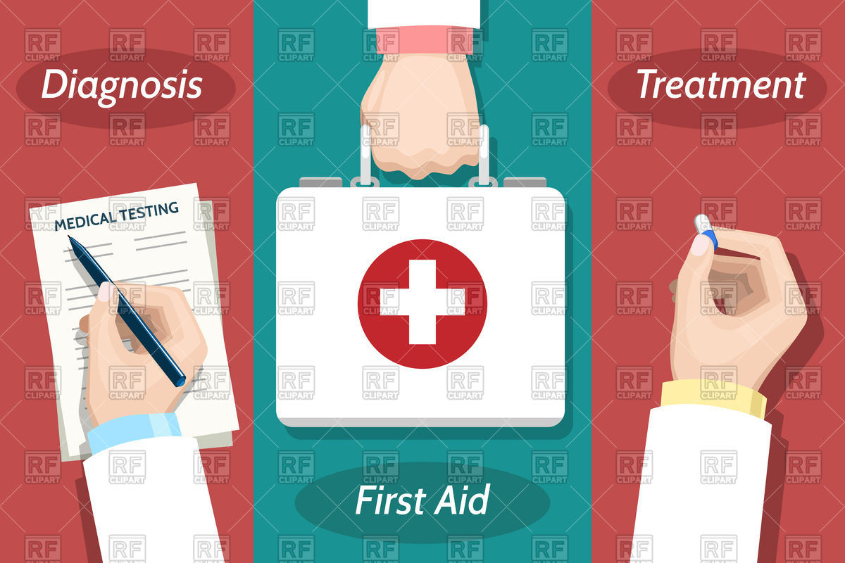 1200x800 Doctor Hand With Pen And Medical Report And First Aid Kit Vector