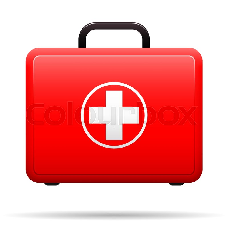 800x800 First Aid Kit. Red Case With Medical Emblem. Box For Medications