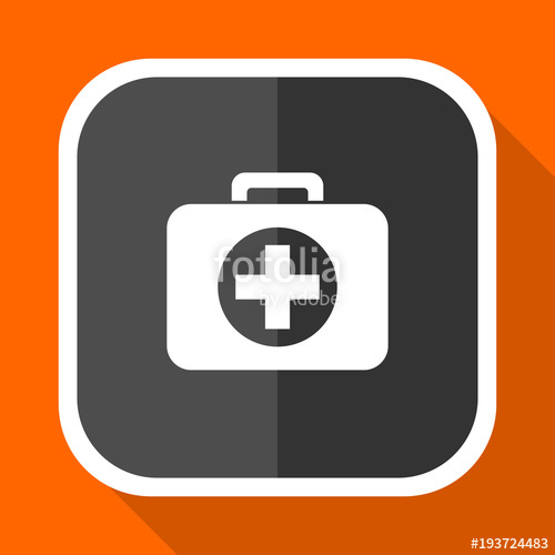 500x500 First Aid Vector Icon. Flat Design Square Internet Gray Button On