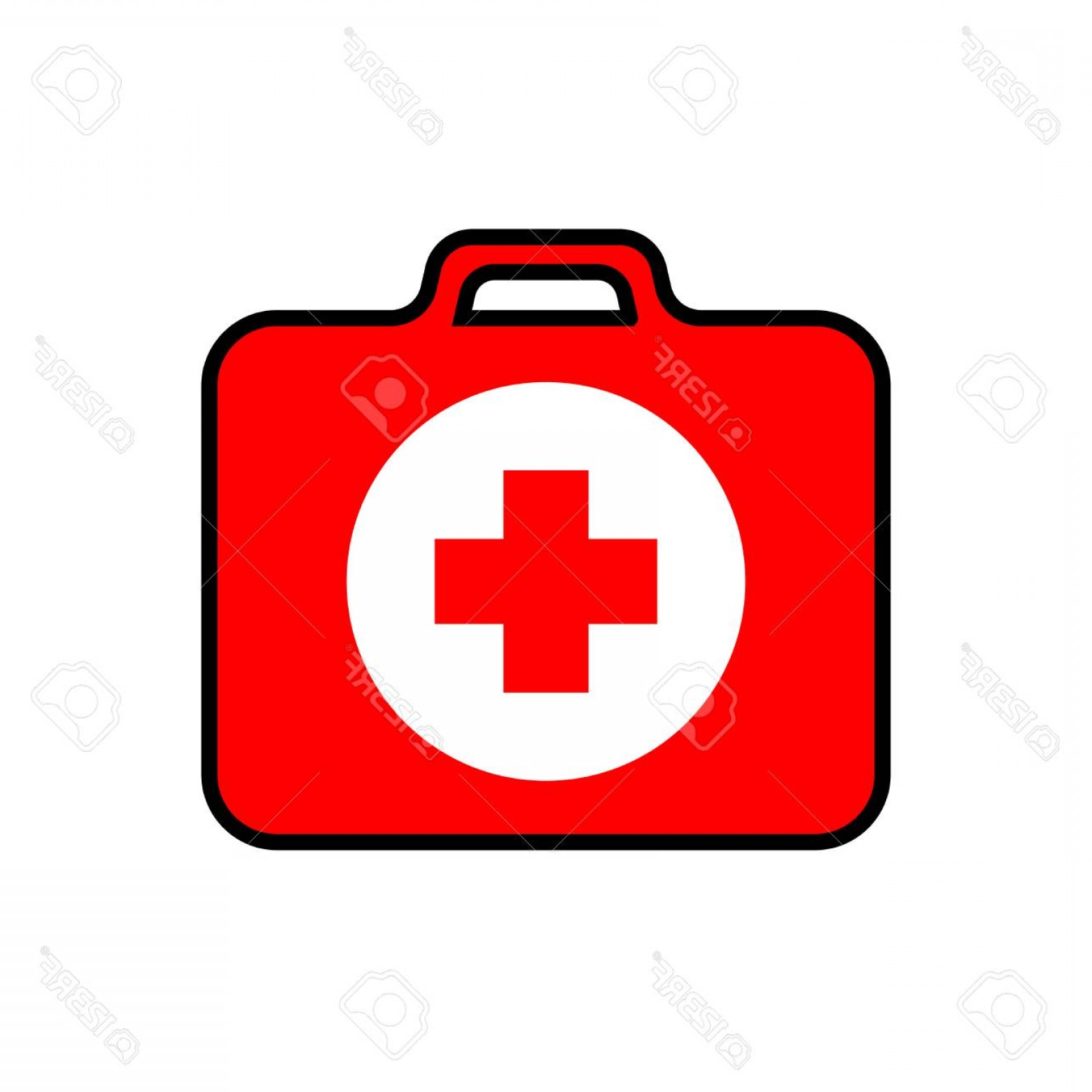 1560x1560 Photostock Vector Red First Aid Kit With A Red Cross And White