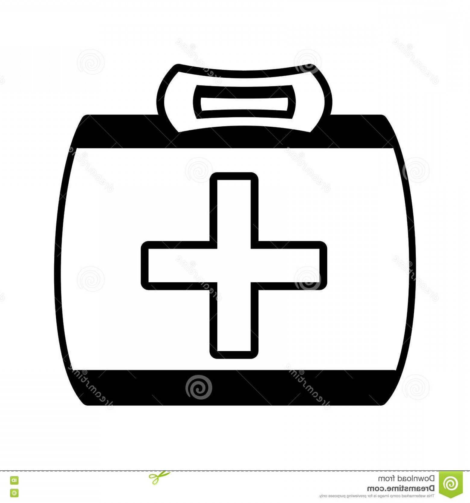 1560x1668 Stock Illustration Outline Kit First Aid Cross Emergency Medical