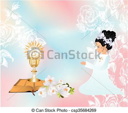 450x396 First Communion, Background With The Girl And Characteristic