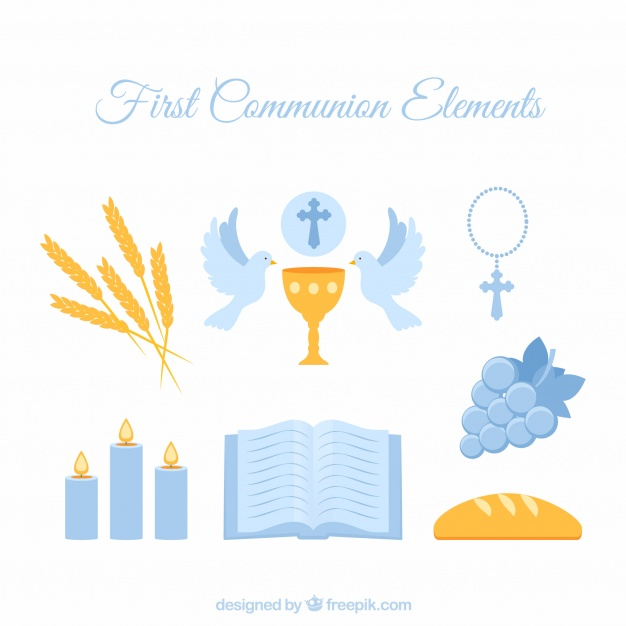 626x626 First Communion Blue Elements Vector Free Download