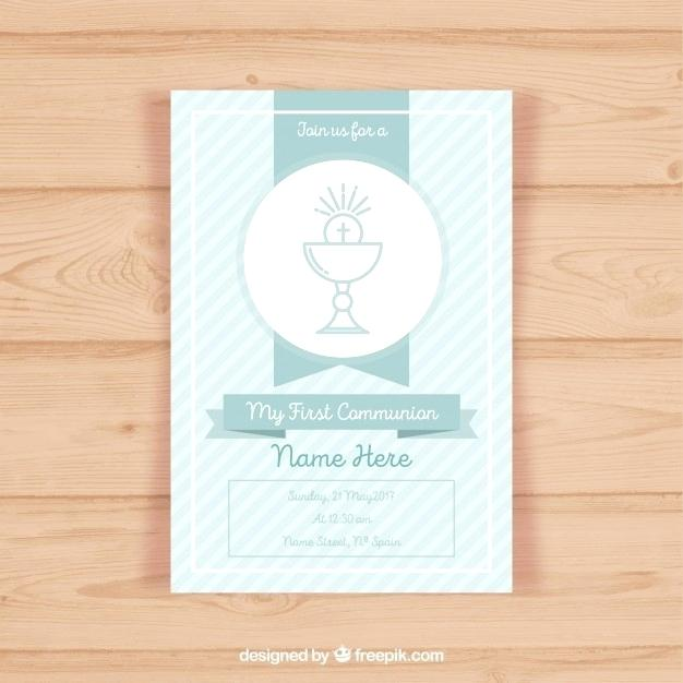 626x626 First Communion Invitation Template Free Vector Holy Card Design
