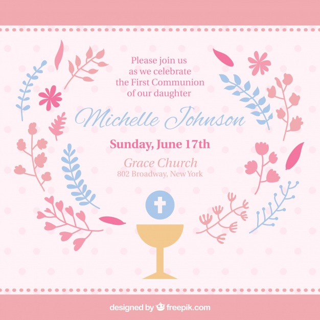 626x626 Cute First Communion Invitation Vector Free Download